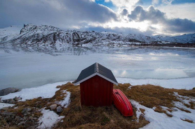 A private fishing cabin is photographed in an inside fjord near Svolvaer, in Lofoten archipelago, Arctic Circle, on March 12, 2016. (OLIVIER MORIN/AFP/Getty Images)