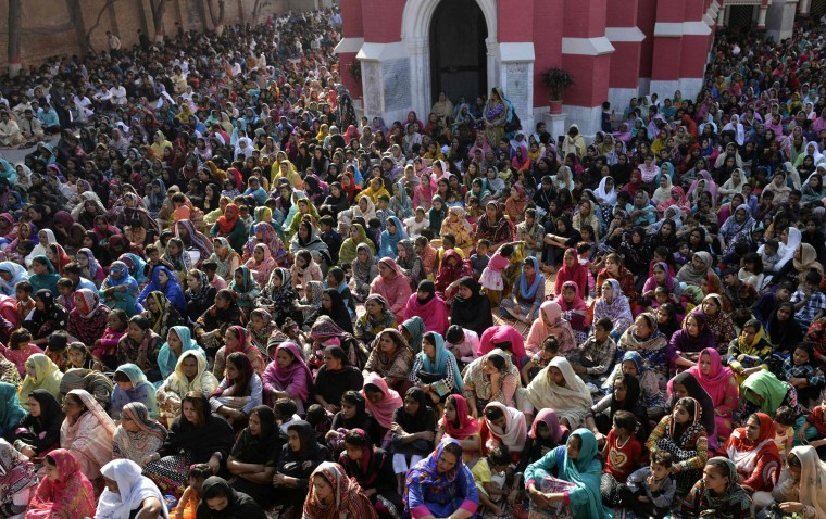 Pakistani Christian worshippers attend Mass to mark Good Friday at St Anthony's Church in Lahore on March 25, 2016. Christians around the world are marking Good Friday ahead of Easter Sunday during holy week commemorations. (Arif Ali/AFP/Getty Images)