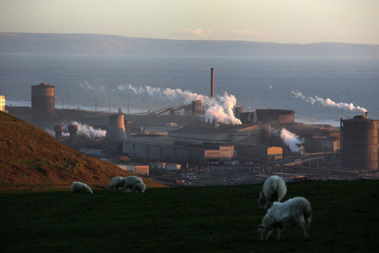 A general view of the Tata Steel plant from the hills overlooking Port Talbot on March 30, 2016 in Port Talbot, Wales. Indian owners Tata Steel put its British business up for sale yesterday, placing thousands of jobs at risk and hitting the already floundering UK steel industry. (Photo by Christopher Furlong/Getty Images)