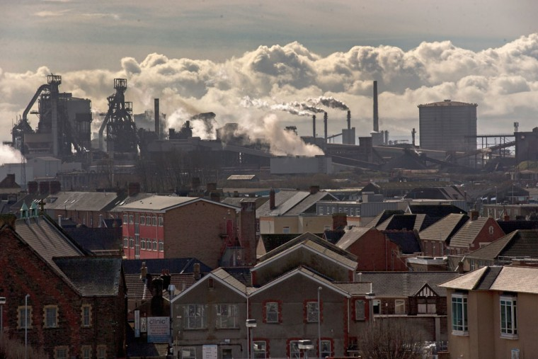 Steam emits from the Tata Steel steel plant at Port Talbot on March 30, 2016 in Port Talbot, Wales. Indian owners Tata Steel put its British business up for sale yesterday, placing thousands of jobs at risk and hitting the already floundering UK steel industry. (Photo by Christopher Furlong/Getty Images)