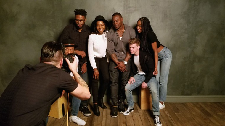 Actor Dorian Missick, filmmaker Matthew A. Cherry, actors Capri Samson, Thomas Q. Jones, Jake McLean and Xosha Roquemore of '9 Rides' is seen behind the scenes in the Getty Images SXSW Portrait Studio powered by Samsung on March 12, 2016 in Austin, Texas. (Photo by Dave Mangels/Getty Images for Samsung)