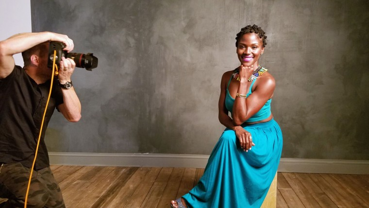 Actress Ashley Wilkerson is seen behind the scenes in the Getty Images SXSW Portrait Studio powered by Samsung on March 12, 2016 in Austin, Texas. (Dave Mangels/Getty Images for Samsung)