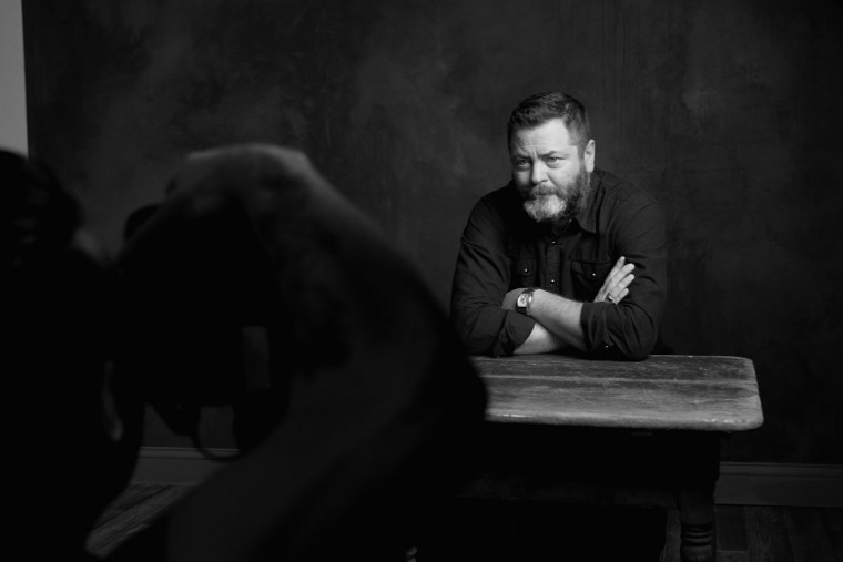 Actor Nick Offerman is seen behind the scenes in the Getty Images SXSW Portrait Studio powered by Samsung on March 12, 2016 in Austin, Texas. (Dave Mangels/Getty Images for Samsung)