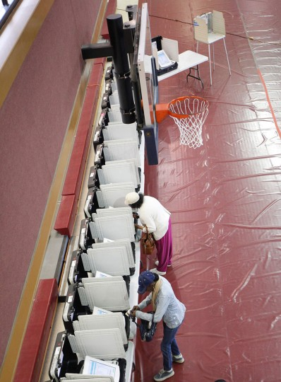 Voters place their ballots in the gymnasium at Saint Philip AME church on Super Tuesday in Atlanta, Georgia on March 1, 2016. (Tami Chappell/AFP/Getty Images)
