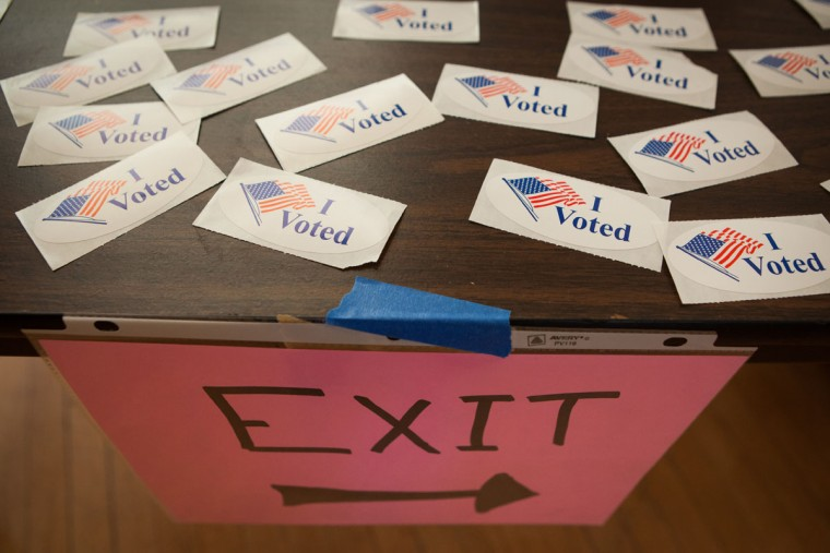 Stickers for voters are seen at a polling place inside Northfield Town Hall on March 01, 2016 in Northfield, MA. Officials are expecting a record turnout of voters in Massachusetts, one of a dozen states holding Super Tuesday presidential primaries or caucuses. (Photo by Matthew Cavanaugh/Getty Images)