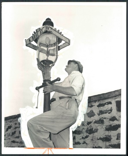 Gas lamps at Rose Street at Homestead. Photo dated August 4, 1957. (Bodine).
