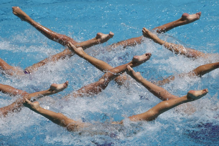 Ukraine's team performs their Free Routine during the Synchronized Swimming Olympic Games Qualification Tournament at the Maria Lenk Aquatics Center in Rio de Janeiro, Sunday, March 6, 2016. The tournament is also a test event for the Rio 2016 Olympics. (AP Photo/Felipe Dana)