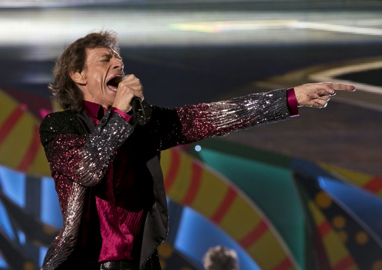 Mick Jagger performs during a Rolling Stones concert in Havana, Cuba, Friday March 25, 2016. The Rolling Stones unleashed two hours of rock and roll on an crowd of hundreds of thousands of Cubans and foreign visitors Friday March 25, 2016, capping one of the most momentous weeks in modern Cuban history with a massive celebration of music that was once forbidden here. (AP Photo/Enric Marti)