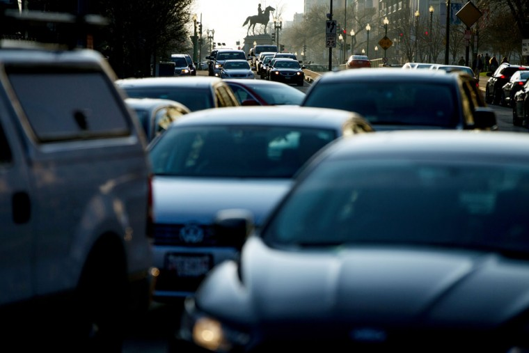 Morning traffic builds on Massachusetts Avenue, in Washington, Wednesday, March 16, 2016. The Metro subway system that serves the nation's capital and its Virginia and Maryland suburbs shut down for a full-day for an emergency safety inspection of its third-rail power cables. Making for unusual commute, as the lack of service is forcing some people on the roads, while others are staying home or teleworking. (AP Photo/Andrew Harnik)