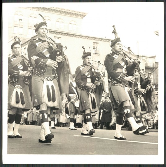 """St. Patrick's day parade; Donegal Pipe Band from N.Y."" March, 1958. (Klender, The Baltimore Sun)."