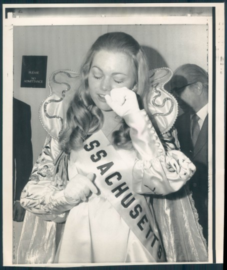 April 8, 1972. A TEARFUL QUEEN - Lynn T. Armstrong, who represents Massachusetts in the 1972 Cherry Blossom Festival, wipes a tear from her eye Friday night after being selected Queen of the Festival.