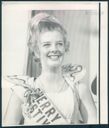 Sharon Michele Tooley, representing Alaska, was selected as the 1970 National Cherry Blossom Festival Queen Friday night. John Mitchell, the Attorney General, spun the wheel-of-states, which stopped on her home state. (April 11, 1970).