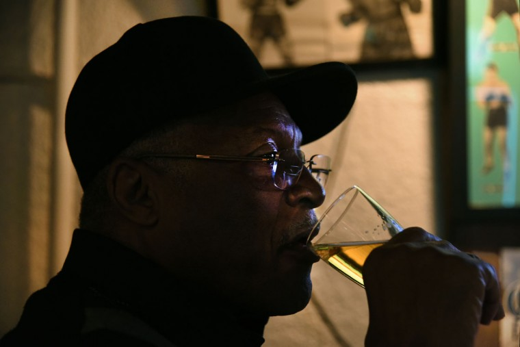 Alfred Simmons, started coming to the Venice Tavern after his retirement. He was in the military for thirty years, then worked as a Veterans Administration benefits counselor and a teacher. He prefers Coors beer. (Amy Davis/Baltimore Sun)