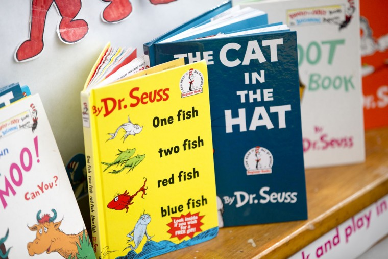 Dr. Suess books on display in a classroom during a program in honor of Dr. Seuss's birthday at Head Start Ellicott City in Ellicott City, MD on Wednesday, March 2, 2016.