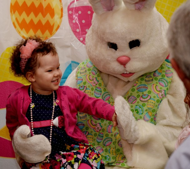 Zora Vaughn, 3, of Patriot Ridge meets the Easter Bunny at the Easter Brunch sponsored by the Child Development Center. (Phil Grout/Baltimore Sun Media Group)