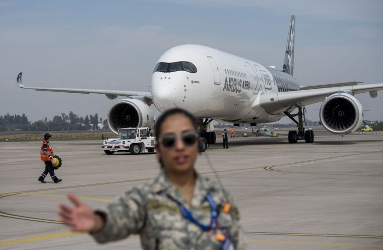 View of the Airbus A350 during the XIX Air and Space Fair (FIDAE) in Santiago on March 28, 2016. (MARTIN BERNETTI/AFP/Getty Images)