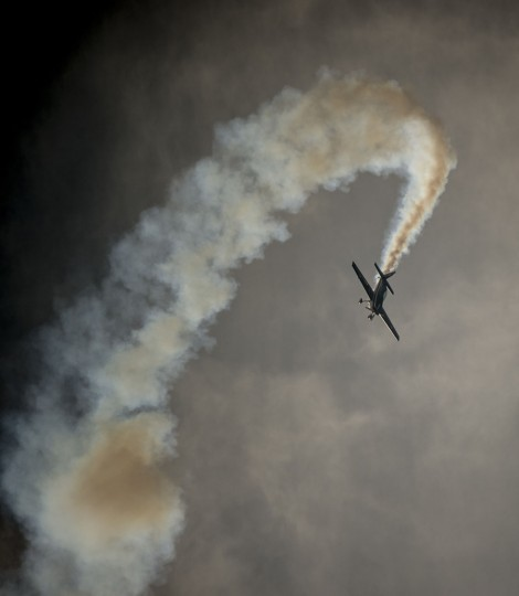 An aircraft from Chile's Halcones aerobatic squadron maneuvers during the XIX Air and Space Fair (FIDAE) in Santiago on March 28, 2016. (MARTIN BERNETTI/AFP/Getty Images)