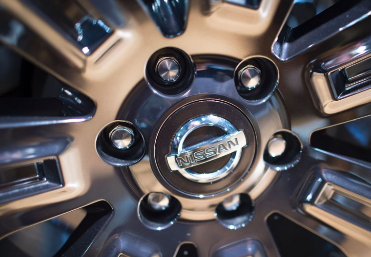 The wheel on the 2017 Titan is on display March 24, 2016, at the New York International Auto Show. (DON EMMERT/AFP/Getty Images)