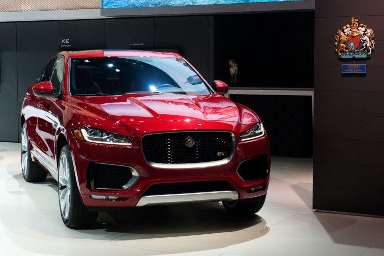 The Jaguar F-Pace is introduced at the New York International Auto Show at the Javits Center on March 23, 2016 in New York City. The F-Pace is Jaguar's first SUV and was released alongside the 567 horsepower luxury sports car, the Jaguar F-Type SVR. (Photo by Bryan Thomas/Getty Images)