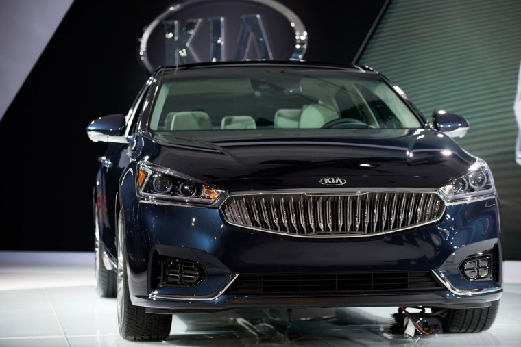 The 2017 model of the Kia Cadenza is introduced at the New York International Auto Show at the Javits Center on March 23, 2016 in New York City. The 2017 Kia Cadenza has 3.3-liter V6 that produces and 290 horsepower as well as a redesigned grille. (Photo by Bryan Thomas/Getty Images)