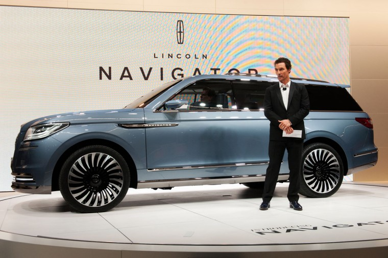 Actor Matthew McConaughey introduces a concept model of the new Lincoln Navigator at the New York International Auto Show at the Javits Center on March 23, 2016 in New York City. The production version of the Lincoln Navigator is expected to go on sale next year. (Photo by Bryan Thomas/Getty Images)