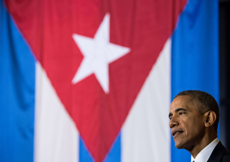 """US President Barack Obama speaks during an entrepreneurship panel discussion in Havana on March 21, 2016. Obama and his Cuban counterpart Raul Castro vowed Monday in Havana to set aside their differences in pursuit of what the US president called a """"new day"""" for the long bitterly divided neighbors. (NICHOLAS KAMM/AFP/Getty Images)"""