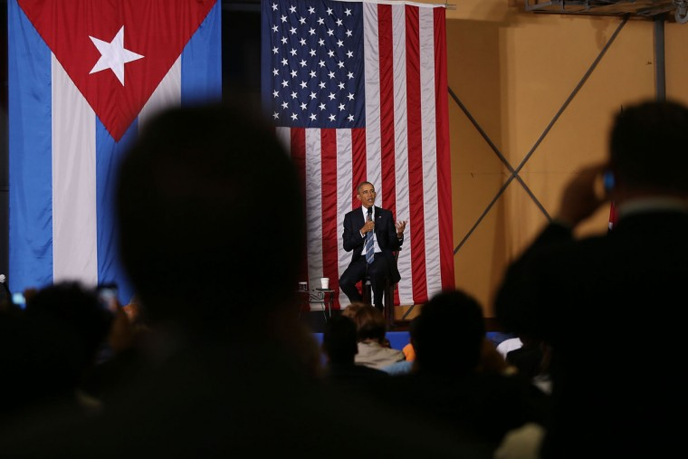 President Barack Obama takes part in an event focused on entrepreneurship and opportunity for the Cuban people at La Cervecera on March 21, 2016 in Havana, Cuba. Mr. Obama's visit is the first in nearly 90 years for a sitting president, the last one being Calvin Coolidge. (Photo by Joe Raedle/Getty Images)