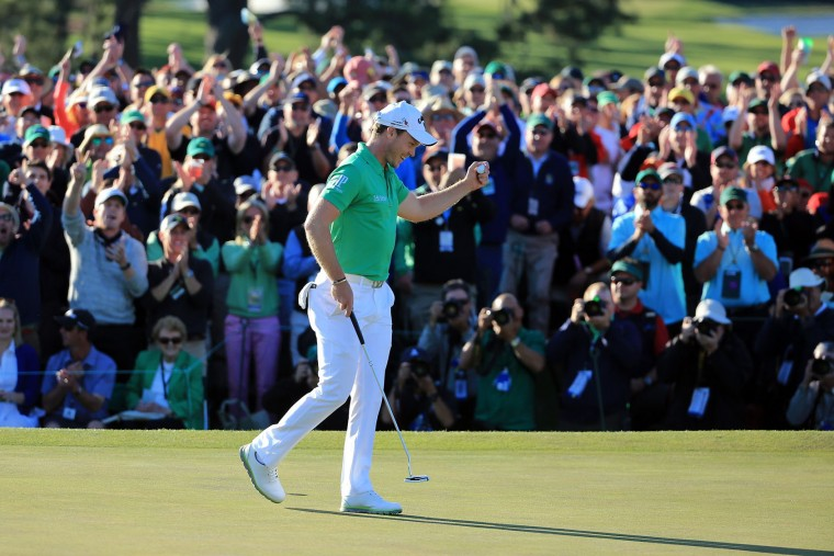 Danny Willett of England reacts after finishing on the 18th green during the final round of the 2016 Masters Tournament at Augusta National Golf Club on April 10, 2016 in Augusta, Georgia. (Photo by David Cannon/Getty Images)