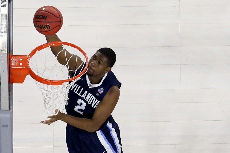 Kris Jenkins #2 of the Villanova Wildcats lays the ball up during the 2016 NCAA Men's Final Four National Championship game at NRG Stadium on April 4, 2016 in Houston, Texas. (Photo by Ronald Martinez/Getty Images)