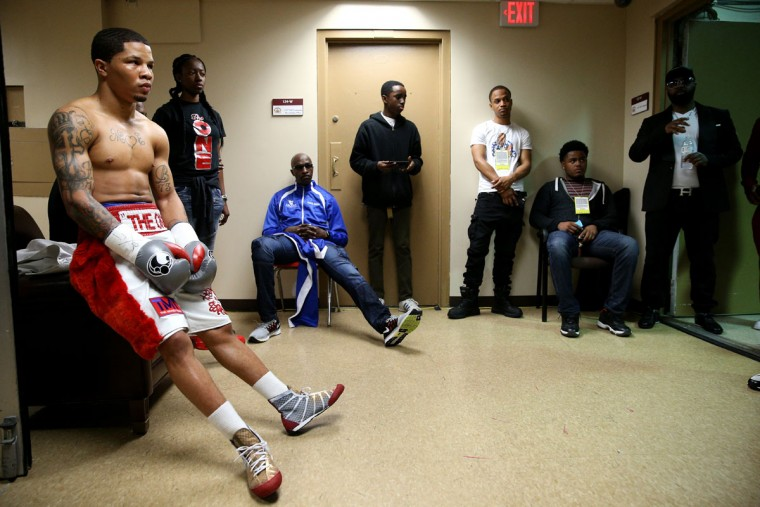 WASHINGTON, DC - APRIL 01: Gervonta Davis waits back stage before fighting Guillermo Avila of Mexico (not pictured) in their super featherweights bout at the DC Armory on April 1, 2016 in Washington, DC. (Photo by Patrick Smith/Getty Images)