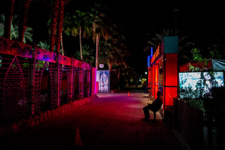 A security guard is seen outside a restaurant in the tourist area of Naama Bay on April 1, 2016 in Sharm El Sheikh, Egypt. Prior to the Arab Spring in 2011 some 15million tourists would visit Egypt each year. The resort town of Sharm El Sheikh was built around tourism however tourist numbers have plummeted after recent terrorist attacks with flights from major UK carriers being suspended and foreign offices around the world warning citizens of the 'High threat from terrorism' Sharm El Sheikh is almost a ghost town, with many resorts being abandoned and business forced to close. (Photo by Chris McGrath/Getty Images)