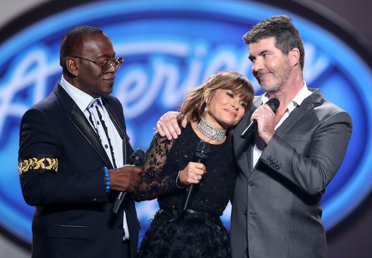 "Randy Jackson, from left, Paula Abdul, and Simon Cowell speak at the ""American Idol"" farewell season finale at the Dolby Theatre on Thursday, April 7, 2016, in Los Angeles. (Photo by Matt Sayles/Invision/AP)"