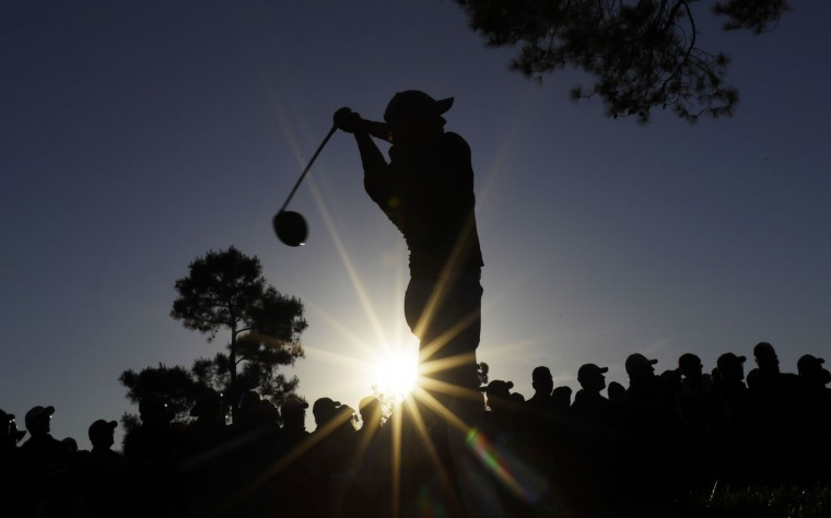 Rory McIlroy, of Northern Ireland, tees off on the 18th hole during the third round of the Masters golf tournament Saturday, April 9, 2016, in Augusta, Ga. (AP Photo/Matt Slocum)