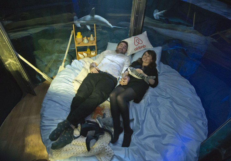Contest winners Alastair Shipman, left, and Hanah Simpson pose in the underwater bedroom, housed in a shark tank at the Aquarium de Paris, France, Monday, April 11, 2016. The San Francisco-based house-sharing company Airbnb and the Aquarium de Paris offer to the worldwide contest winners a night in a underwater bedroom with sharks and fishes next to the Eiffel tower. (AP Photo/Michel Euler)