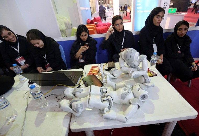 Iranian women attend the RoboCup Iran Open 2016 in Tehran. (ATTA KENARE/AFP/Getty Images)