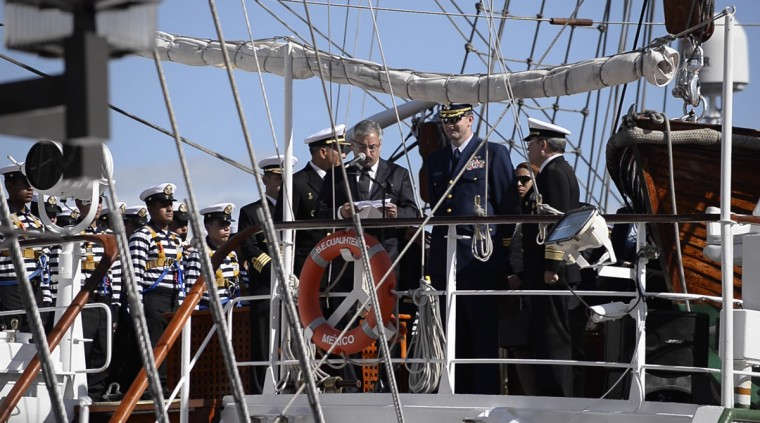 Officials on board the Mexican Navy's Cuauhtemoc training ship, which arrived in Baltimore's Inner Harbor Saturday, April 23. The ship will be docked in Baltimore until April 27, when she will set sail for New England. (Christina Tkacik/Baltimore Sun)