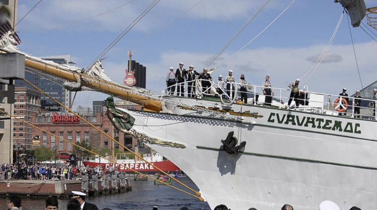 Marineros on board the Mexican Navy's Cuauhtemoc training ship, which arrived in Baltimore's Inner Harbor Saturday, April 23. The ship will be docked in Baltimore until April 27, when she will set sail for New England. (Christina Tkacik/Baltimore Sun)