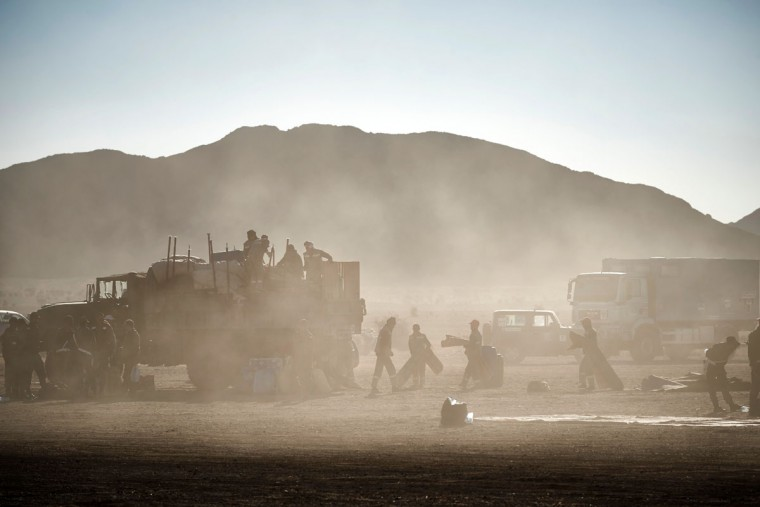 Organizers prepare the bivouac for competitors taking part in the 31st edition of the Marathon des Sables in the southern Moroccan Sahara desert on April 12, 2016. (JEAN-PHILIPPE KSIAZEK/AFP/Getty Images)
