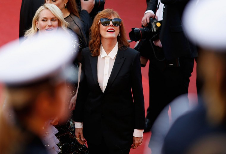 """CANNES, FRANCE - MAY 11: Actresses Naomi Watts and Susan Sarandon attend the """"Cafe Society"""" premiere and the Opening Night Gala during the 69th annual Cannes Film Festival at the Palais des Festivals on May 11, 2016 in Cannes, France. (Photo by Tristan Fewings/Getty Images)"""