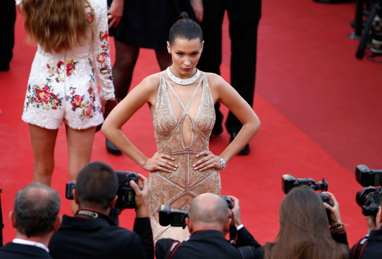 """CANNES, FRANCE - MAY 11: Model Bella Hadid attends the """"Cafe Society"""" premiere and the Opening Night Gala during the 69th annual Cannes Film Festival at the Palais des Festivals on May 11, 2016 in Cannes, France. (Photo by Tristan Fewings/Getty Images)"""