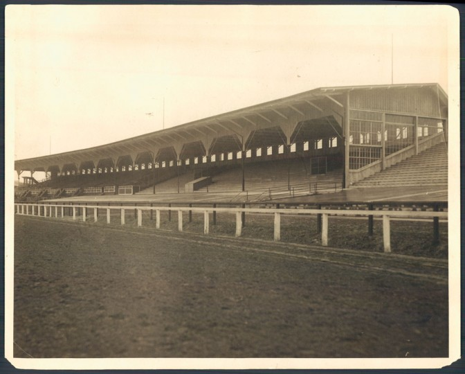 The old-style grand stands, seen here in 1922, remain at the Pimlico race course - a reminder of the bygone era.