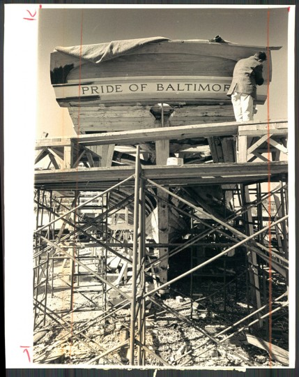 "Construction of the Pride of Baltimore began in the 1970s, to celebrate the United States bicentennial. Hand-built from wood, the schooner was originally meant to be a museum piece, docked in the harbor. It later set sail as a ""goodwill ambassador"" and traveled the world representing the city of Baltimore. On May 14, 1986, the ship was caught in a storm and sank off the coast of Puerto Rico. 4 crew members died."