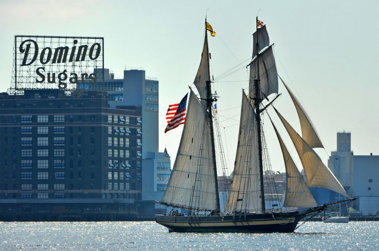 Baltimore, MD-9/16/14 - The Pride of Baltimore II leads the tall ships as they departed on Tuesday, marking the end of the Star-Spangled Spectacular commemorating the 200th anniversary of the War of 1812 in Baltimore. (Amy Davis / Baltimore Sun)