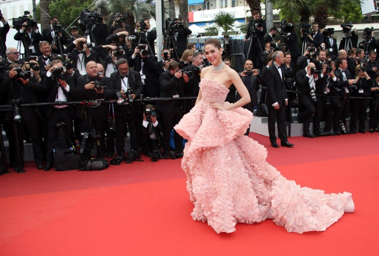 Araya A. Hargate arrives for the screening of the film Cafe Society and the Opening Ceremony at the 69th international film festival, Cannes, southern France, Wednesday, May 11, 2016. (AP Photo/Joel Ryan)