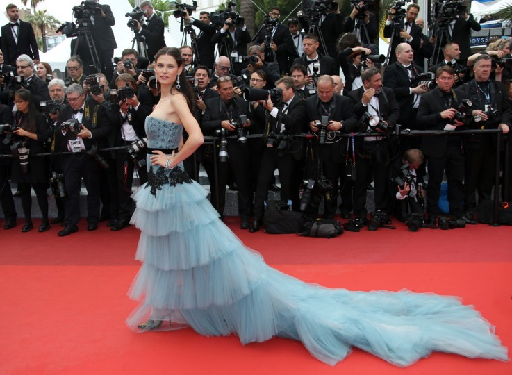Model Bianca Balti poses for photographers on arrival for the screening of the film Cafe Society and the Opening Ceremony at the 69th international film festival, Cannes, southern France, Wednesday, May 11, 2016. (AP Photo/Joel Ryan)