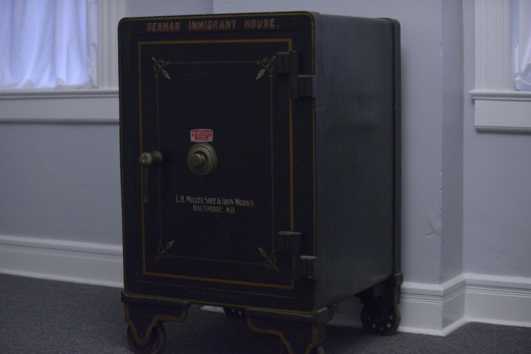 A storage safe at the German Immigrant House where immigrants might put their valuables, assuming they had any. The average immigrant arrived with $15, enough to live for just over a week. After that, immigrants expected to find jobs. (Christina Tkacik/Baltimore Sun).