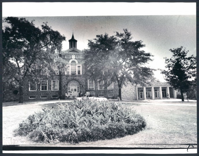 Carnegie Hall, left, and Spencer Hall, right, two of the University's historic buildings, 1981.