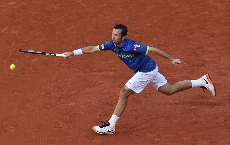 Radek Stepanek of Czech Republic plays a forehand during the Men's Singles first round match against Andy Murray of Great Britain on day two of the 2016 French Open at Roland Garros on May 23, 2016 in Paris, France. (Photo by Dennis Grombkowski/Getty Images)