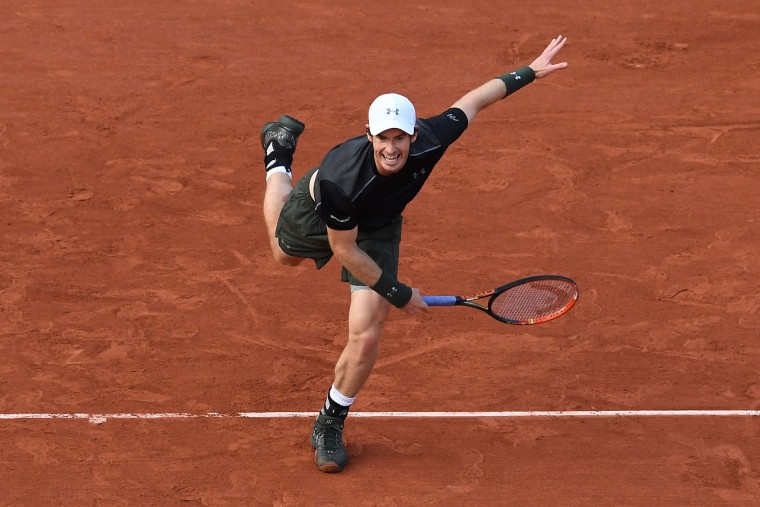 Andy Murray of Great Britain serves during the Men's Singles first round match against Radek Stepanek of the Czech Republic on day two of the 2016 French Open at Roland Garros on May 23, 2016 in Paris, France. (Photo by Dennis Grombkowski/Getty Images)