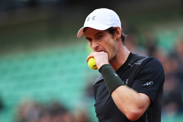 Andy Murray of Great Britain reacts during the Men's Singles first round match against Radek Stepanek of the Czech Republic on day two of the 2016 French Open at Roland Garros on May 23, 2016 in Paris, France. (Photo by Dennis Grombkowski/Getty Images)